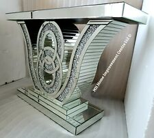 Diamond Crush Crystal Opulent Sparkly Silver Mirrored Console Table 120xH80x35cm