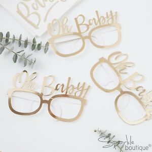 'OH BABY!' GLASSES x 8 - Baby Shower Photo Booth Props - Gold Party Accessories