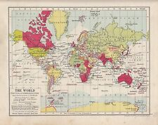 1931 MAP ~ THE WORLD POLITICAL & COMMUNICATIONS ~ STEAMER ROUTES RAILWAYS