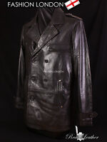 REEFER Black Men's Classic Pea Coat Style Lambskin Simple Casual Leather Jacket