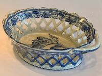 Staffordshire Botanical Parrot Tulip Reticulated Pierced Basket 19th C