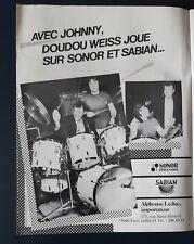 Publicité advert concert advertising JOHNNY HALLYDAY 1984 pub batterie SONOR