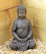 Grand 39 cm Assis Bouddha effet pierre jardin outoor INTÉRIEUR Statue Ornement Thai