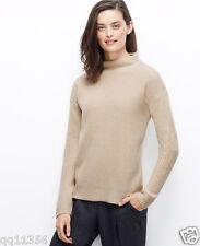 ANN TAYLOR Funnel Mock Neck Sweater Drop shoulders Birch Beige SIZE L 355279