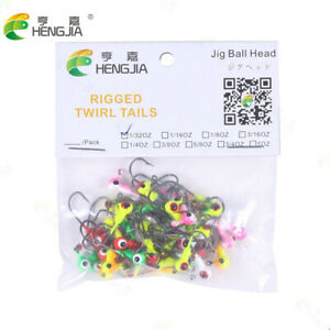 50PCS/Pack Painted Lead Jig Heads Fishing Hooks Lure Bait Tackle Crappie 1/32OZ