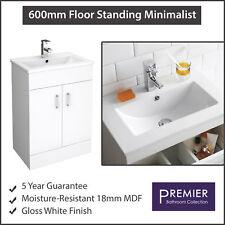 600mm Bathroom Storage Floor Standing Minimalist Vanity Unit Cabinet and Basin