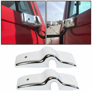 Chrome Door Mirror Brackets Left Right Fit Freightliner Century Columbia Pair