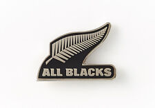33888 ALL BLACKS BLACK LOGO PIN FEATURING SILVER FERN - NEW ZEALAND RUGBY UNION