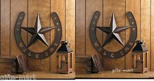 2 Rustic WELCOME Star HORSESHOE country cowboy horse METAL Wall outdoor Plaque