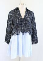 Zara Basic Blue Black Tweed Fringe Poplin Tunic Top Blouse Size XS Collared