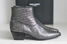 NIB Auth YSL Saint Laurent Emboss Croc Wyatt Chelsea Booties Boot Shoes 8.5 38.5