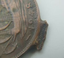 More details for british george vi 1948 half penny coin - punch / build up error