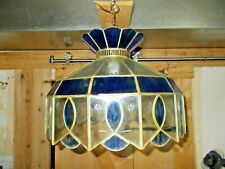 Vintage Swag Lamp Hanging Ceiling Chandelier with Etched Stained Glass