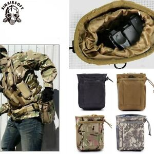 Tactical Molle Magazine Mag Folding Dump Drop Pouch Drawstring Utility Ammo Bags