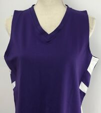 Russell Athletic Dri Power Size L Stretch Shirt Tank Top Women Purple White