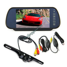 "Wireless 7 LED IR Reverse Camera + 7"" LCD Monitor Car Rear View Mirror Kit New"
