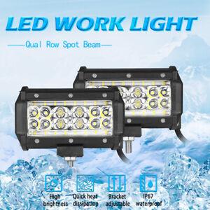2Pcs 5in LED Work Light Bar Combo Spot Flood Fog Offroad SUV ATV Truck Driving