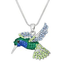 """Green & Blue Hummingbird Charm Pendant Necklace - Sparkling Crystal - 17"""" Chain"""