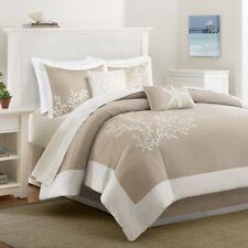 Coastline Queen Size 6pc Comforter Set in Khaki & Beige Coral Embroidered Fabric