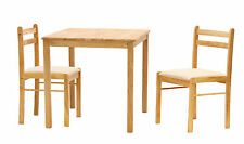 Dining Kitchen Table Set Small Square Top Two Chairs - Natural Finish