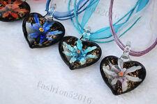 FREE Wholesale Lots 6pcs Heart Bicolor Helix Glass Beads Pendants Fit Necklace