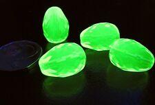 URANIUM Czech Vaseline glass faceted TearDrop beads 16x12mm 4 pcs.