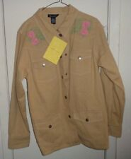 L NWT Ladies Womens Dennis & Co Shirt Jacket Denim Beige Floral Embroidery Snaps
