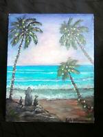 "Original Acrylic Painting 8""x10"" Canvas Panel, Christmas Cat Dog Beach Art Decor"