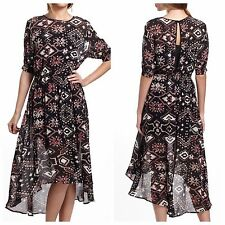 SAM & LAVI Anthropologie Black Motif Defi Ikat Dress hi low sheer midi boho M