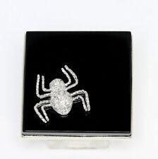 Diamond onyx spider spooky ring 18K white gold E round brilliant 25.3C Halloween