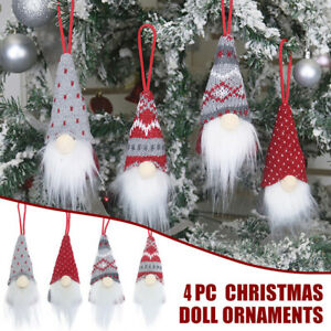 4Pcs Christmas Tree Hanging Ornaments Handmade Plush Santa Elf Home Decorations