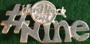 """9th Year Hard Rock Cafe STAFF Sterling Silver PIN """"# NINE"""" Years of Service 3525"""