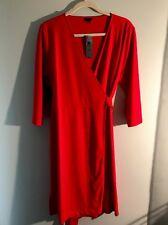 ANN TAYLOR RED KNIT WRAP DRESS, 14P, NWT