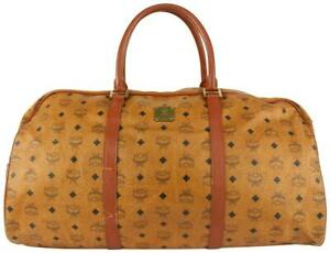 MCM Large Cognac Monogram Viseto Boston Duffle Bag 106m16