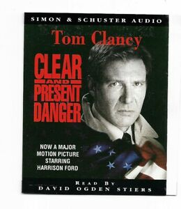 TOM CLANCY  -- CLEAR AND PRESENT DANGER -- DOUBLE CASSETTE  AUDIOBOOK --180 MINS