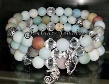 Sterling Silver Mint Gemstone Arm Candy Beaded Stretch Charm Bracelet Stack set