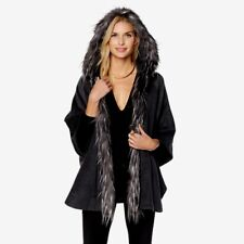 Adrienne Landau Sz M/L Hooded Kimono Cape Faux Fox Trim Black & Grey 503-867