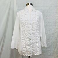 Sundance Women's Sz 12  L Top Tunic White Cotton Gauze Ruched Button Front #X