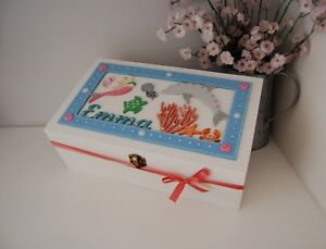 MERMAID Keepsake Box Wooden Gift Memory Box PERSONALISED ANY NAME Under the Sea