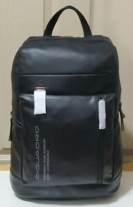 NWT Piquadro Downtown Black Leather Backpack With PC Compartment