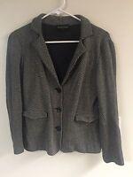 emporio armani Euro 40 US 10 knit herringbone black/Gray cardigan $$REDUCED$$