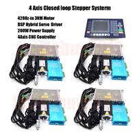 4 Axis 428Oz-in 3NM Hybrid Servo Closed loop Stepper Motor Nema23 Driver Kit