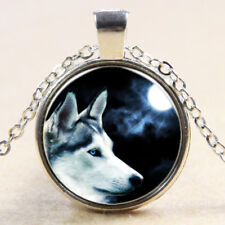 Vintage moon Wolf Cabochon Tibetan Silver Glass Chain Pendant Necklace NEW