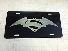 BATMAN V SUPERMAN Car Tag Diamond Etched on Aluminum License Plate