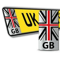 2 x PVC Vinyl Number Plate Stickers GB UK Flag Union Jack Numberplate Decals