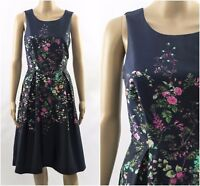 ex Monsoon Fit & Flare Floral Print Navy Tea Wedding Party Occasion Dress