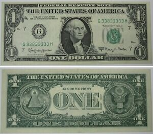 1963 $1, Fancy Serial Number, 7-of-a-kind, 33833333