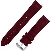 Vintage Suede Leather Watchband - Burgundy - 20mm & 22mm