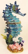 Seahorse Bejeweled Enameled Hinged Trinket Box Aqua Blue