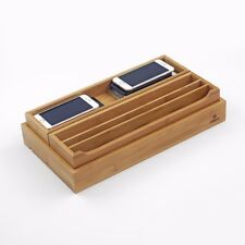 Bamboo Phone Tablet Organizer Charging Station Dock Tray Office Desktop, WELLAND